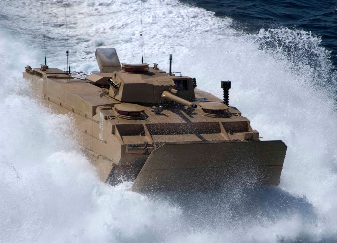An Expeditionary Fighting Vehicle executes testing maneuvers off the coast of Marine Corps Base Camp Pendleton, Calif., in October 2008.