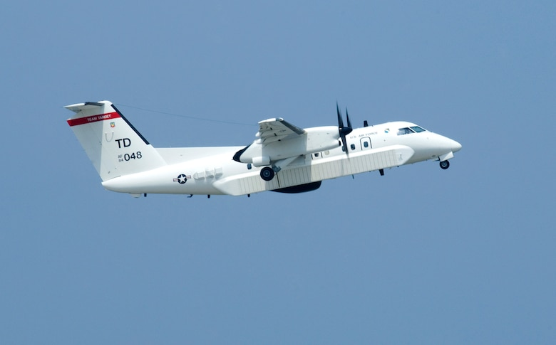 An E-9A takes off from Tyndall Air Force Base, Fla. during a Combat Archer training exercise. The E-9 is used as a surveillance platform over the Gulf of Mexico waters providing telemetry and radio relays in support of air-to-air weapons systems evaluations.