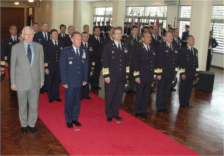 Lt. Gen. Norman Seip, the Twelfth Air Force (Air Forces Southern) commander, stands in formation with Gen. Enrique Bonelli, the Commander in Chief of the Uruguayan Air Force, Ambassador Frank Baxter, US Ambassador to Uruguay and members of the UAF during a ceremony to award AFSOUTH Airmen the Medal of Aeronautical Merit.  The medal was awarded by the nation of Uruguay based on years of partnership and friendship between Airmen of the two Air Forces during cooperative events in the South American nation. (Photo provided by the Uruguayan Air Force)