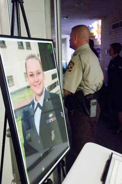 Members of local law enforcement agencies, the 42nd Security Forces Squadron and  Maxwell-Gunter community leaders gathered Tuesday at Chapel 2 to remember Senior Airman Samantha Sculthorpe, who died Sept. 25 in an automobile accident. (Air Force photo by Melanie Rodgers)