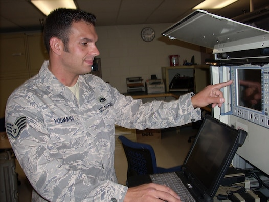 "Staff Sgt. Ed Youmans, 16th Electronic Warfare Squadron, demonstrates a procedure on the USM 642 ""Raven"" signal generator - a machine that simulates any real world radar emitter and allows the Combat Shield team to assess aircraft's response to those signals.  The Combat Shield unit is tasked with testing the air defense systems of all A-10s, F-15s, F-16s, HH-60s and C-130s in the Air Force inventory.  U.S. Air Force photo."