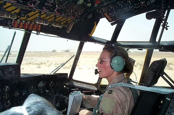 Maj. Kristen R. Snow, a Captain in the United States Air Force at the time of this photo, completes a combat air mission in an HC-130 at a forward operating base in Southwest Asia in direct support of Operation Enduring Freedom.  (Photo courtesy of Maj. Kristen R. Snow)