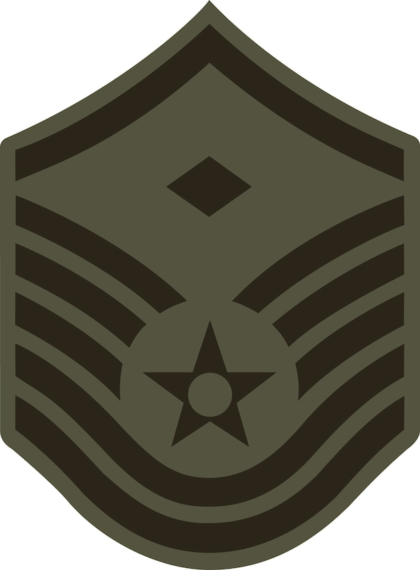 Master Sergeant, E-7 (ABU color), Diamond denotes first sergeant status.  This graphic is provided by Defense Media Activity-San Antonio and is 5x6.8 inches @ 300 ppi.