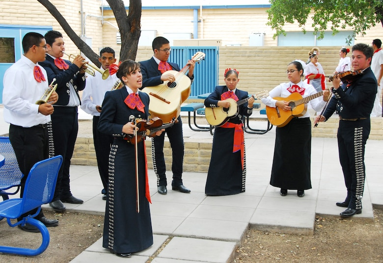 Student musicians from Tucson's Cholla High School perform mariachi music for Guardsmen in the 162nd Fighter Wing Minuteman Courtyard, Oct. 3. (Air National Guard photo by Master Sgt. Dave Neve)