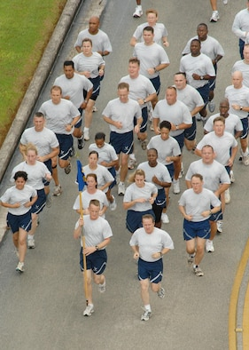 ANDERSEN AIR FORCE BASE, Guam - Team Andersen members led by Brig. Gen. Phil Ruhlman, 36th Wing commander, participate in the monthly wing run here Oct. 10. Andersen's monthly wing run is approximately 1.5 miles and emphasizes physical training while promoting esprit de corps.(U.S. Air Force photo by Airman 1st Class Nichelle Griffiths)