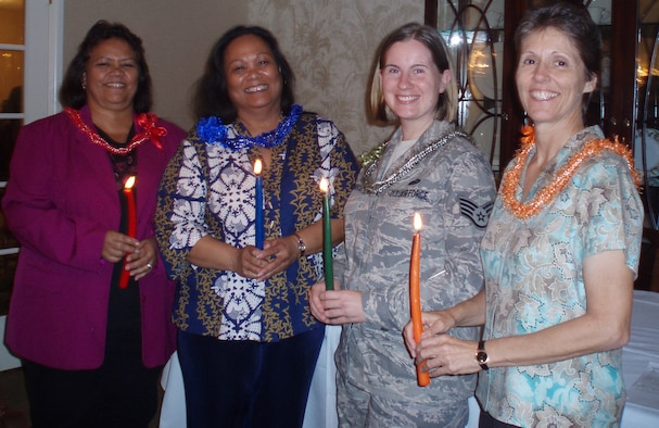 "2009-2010 Board Members from left - Dinah Sanchez, President; Lu Sullivan, Secretary; SSgt Melinda ""Mindy"" Morris, Treasurer; and Debra Straight, Historian. (U.S. Air Force photo by Jackie Hites)"