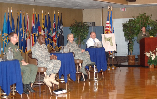 Colonel David Reth, 14th Operations Group commander, Col. Mark Brown, 14th Mission Support Group commander, Col. Diane Fletcher, 14th Medical Group commander and David Olson, DynCorp Division Manager were all part of the questions and answers board at the town hall meeting Tuesday night at the Club. Col Jeff Dunn, 14 Flying Training Wing vice commander, moderated the question and answer portion of the meeting. (U.S. Air Force photo)
