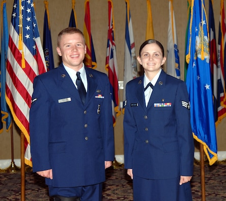 The 14th Flying Training Wing congratulates the September enlisted promotees. Pictured are: to Airman: Ross Fant, 14th Security Forces Squadron; to Senior Airman: Amanda Fitzgerald, 14th Medical Operations Squadron. (U.S. Air Force photo by Elizabeth Owens)