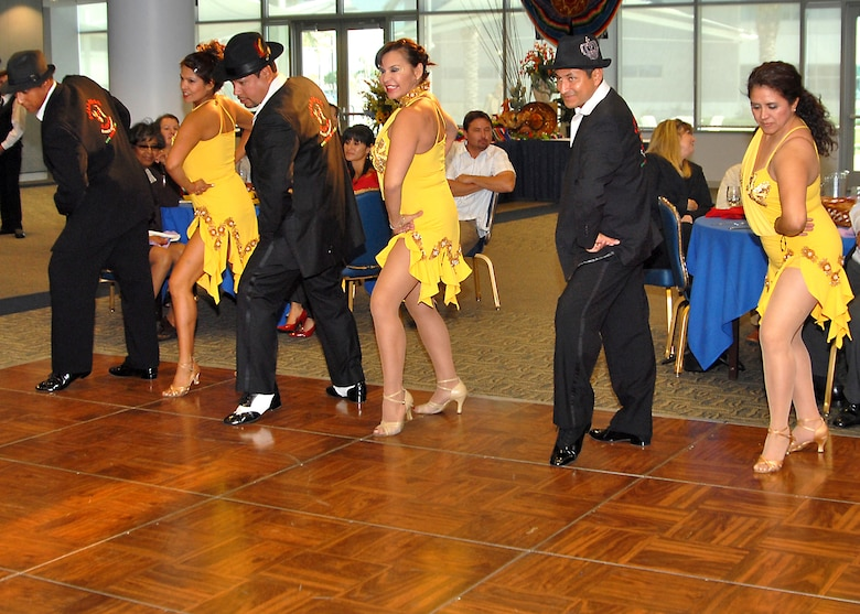 Performance by Salsabor Y Cache, internationally known salsa dance company, entertains the audience during the 2008 Hispanic Heritage month luncheon held at the Gordon Conference Center, Oct. 14. The luncheon was hosted jointly by The Aerospace Corporation Hispanic Advisory Council, LAAFB/SMC Hispanic American Group, and Aerospace Veterans West.  (Photo by Joe Juarez)