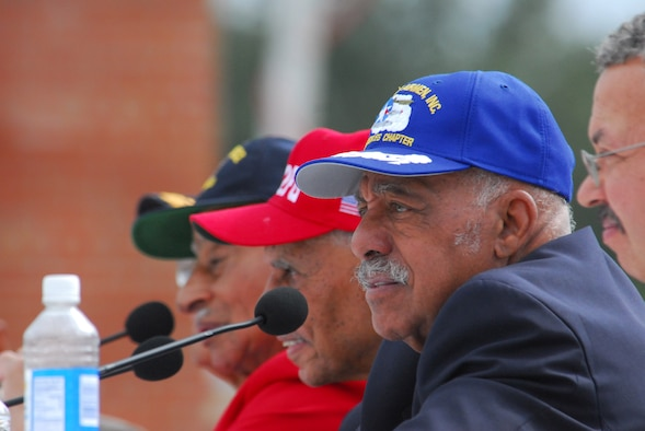 Retired Lt. Col. William Holloman, one of the Documented Original Tuskegee Airmen, participates in a panel discussion prior to the opening ceremony of the Tuskegee Airmen National Historic Site Oct. 10 at Moton Field, Ala. (Air Force photo by Scott Knuteson)