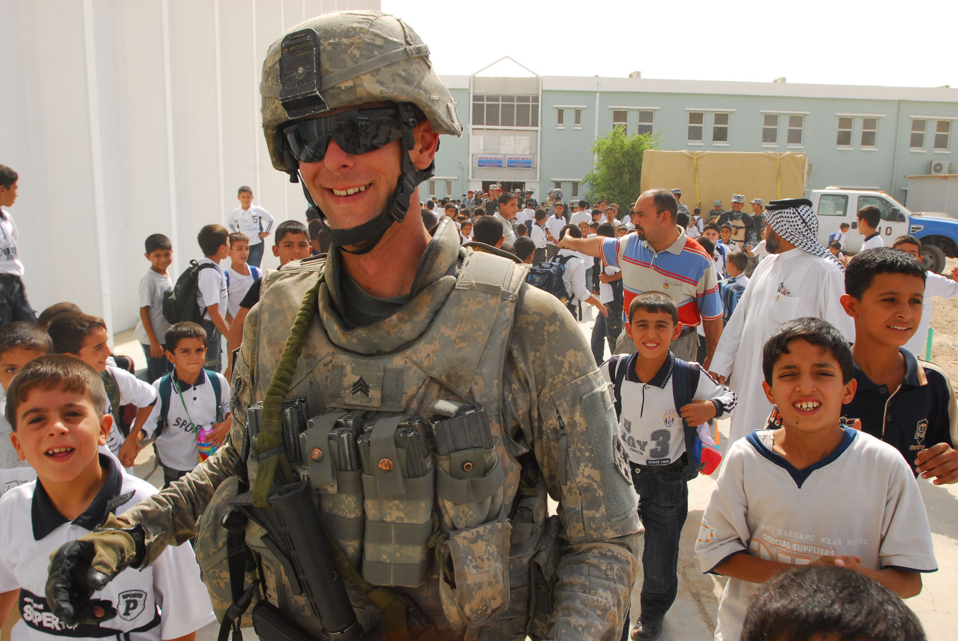 U.S. Army Sgt. Jeremy Brown, assigned to the 4th Infantry Division's 1st Brigade Combat Team, provides