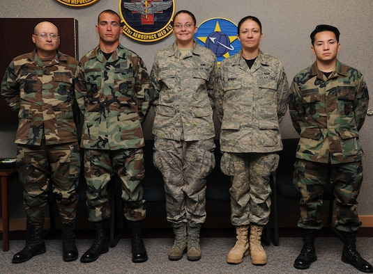 Five Airmen joined the 931st Air Refueling Group family during the October unit training assembly: (from left to right) Tech. Sgt. Kevin Schademann, Senior Airman Allen Cooper, Senior Airman Candice Dodds, Senior Airman Amy Mowrey, and Staff Sgt. Khoa Nguyen.