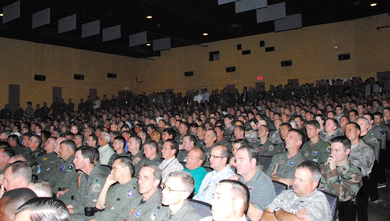 DAVIS-MONTHAN AIR FORCE BASE, Ariz. – Guardsmen and Reservists from across the country pack into the base theater here to kick off the 2008 Weapons and Tactics Conference (WEPTAC) Oct. 20. Approximately 1,600 registered conference attendees converged on Tucson, Ariz., to discuss the Air Reserve Component's (ARC) look to the future force structure and new mission areas. The Air National Guard Air Force Reserve Test Center (AATC) and the 162nd Fighter Wing will host this annual event, Oct. 20 through 24 from D-M and the Arizona Air National Guard base at Tucson International Airport. (Air National Guard photo by Master Sgt. Dave Neve)