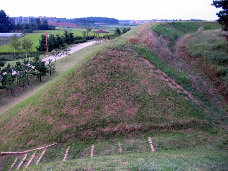 An earthen-wall fortress, located just blocks away from the main entrance to U.S. Army Garrison Humphreys in Pyeongtaek, is believe to been built by Pal Geup Lim to protect his family from outside threats during the Goryeo Kingdom period, 918 to 1392 A.D. (U.S. Air Force photo/Master Sgt. Matt Summers)