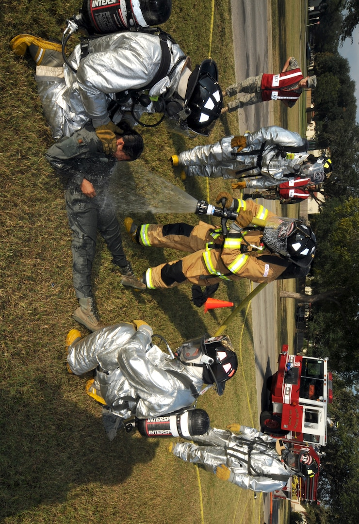Participants at an exercise staged at Randolph AFB on Oct. 21. (U.S. Air Force photo by Steve White)