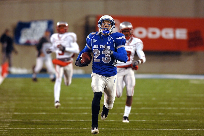 U.S. Air Force Academy Falcon free safety Aaron Kirchoff rambles downfield during his 96-yard return of a fumble recovery for a game-changing touchdown against the University of New Mexico. The UNM Lobos scored 70 points last week against San Diego State, but were limited to only 10 points, which came off of early turnovers deep in Falcons territory. Despite the turnovers, the Falcons defense limited the New Mexico offense to 303 yards for a 23-10 win Oct. 23 at Falcon Stadium in Colorado. (U.S. Air Force photo/Dennis Rogers)