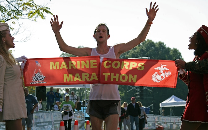 Andrew Dumm, 23, won the 33rd Marine Corps Marathon with a time of 2:22:42. It was the first marathon the Arlington,Va., native ran. Andrew's brother, Brian, finished a few minutes behind him in fifth place.