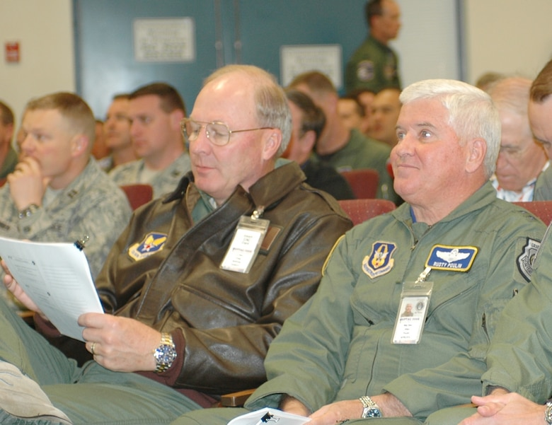 Lt. Gen. Craig McKinley, Air National Guard director, (left) and Maj. Gen. Allan Poulin, Air Force Reserve Command vice commander, listen to Weapons and Tactics Conference working group chairmen brief their recommendations for tactical development and modernization in the Air Reserve Component (ARC), Oct. 24. The annual conference held at the 162nd Fighter Wing in Tucson, Ariz., gives warfighters the opportunity to tell senior leaders what they need to improve their weapon systems. (Air National Guard photo by Capt. Gabe Johnson)