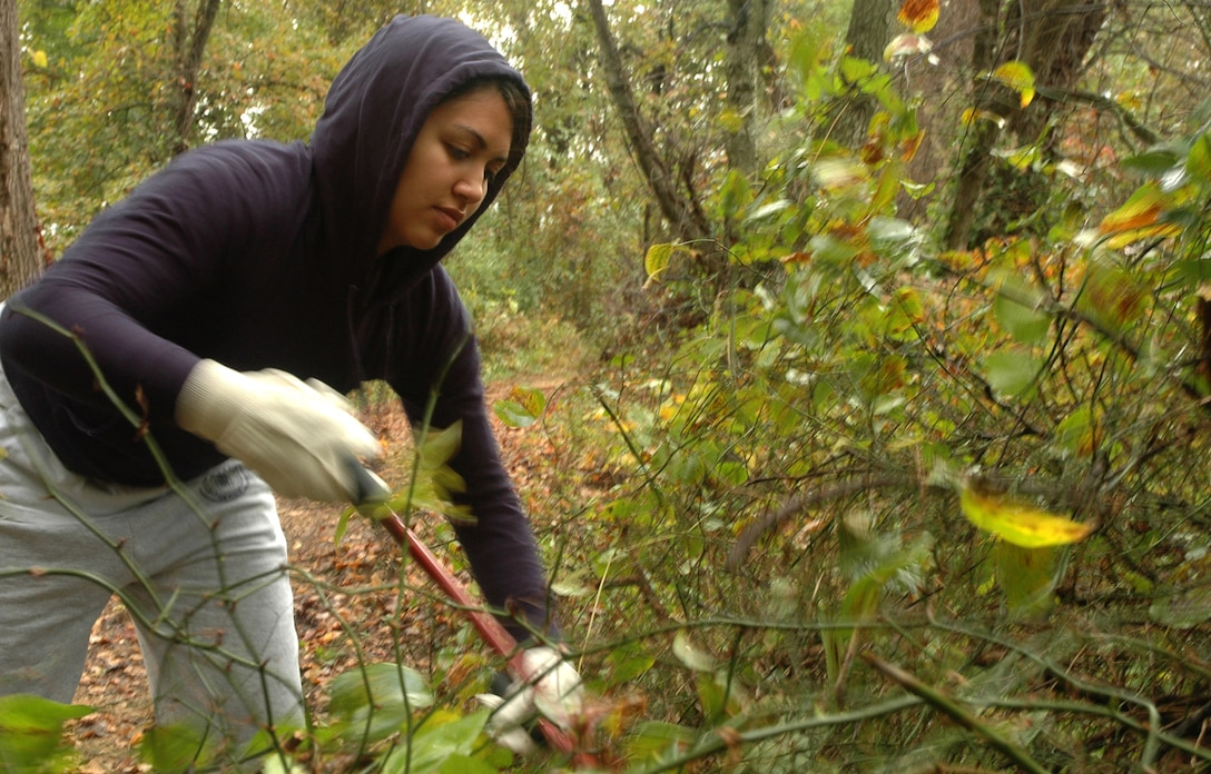 """Airman 1st Class Lorena Montoya, 11th Mission Support Squadron, prunes shrubs and other invasive plants along a walking trail Oct. 25 at Kenilworth Aquatic Garden in Washington, D.C. Airman Montoya was one of 176 servicemembers who volunteered at the garden as part of a joint service project for national """"Make a Difference Day.""""  (U.S. Air Force photo/R. Michael Longoria)"""