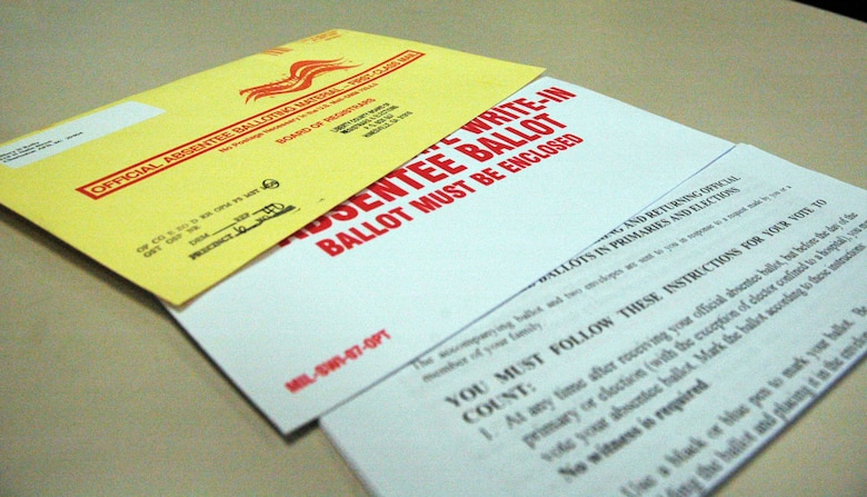 If you are a traditional reservist on active duty at Charleston Air Force Base, S.C., or are an activated deployed Reservist, remember that you can vote in next week's Presidential election via absentee ballot.  Typically, airmen voters must request an absentee ballot at least a week before the election occurs. Each State's Secretary of State or Director of Elections is in charge of the election process, including voter registration and absentee ballot requests. Balloting materials may be sent via the United States Postal Service without prepayment of postage for members of the Armed Forces.  Each state has different laws regulating when absentee ballots must be counted, and who does the counting, but in most states the ballot must arrive by Election Day.  Absentee ballots get top priority for mail processing at election time to provide the best chance to have votes count. (U.S. Air Force photo/Tech. Sgt. Jeff Kelly)