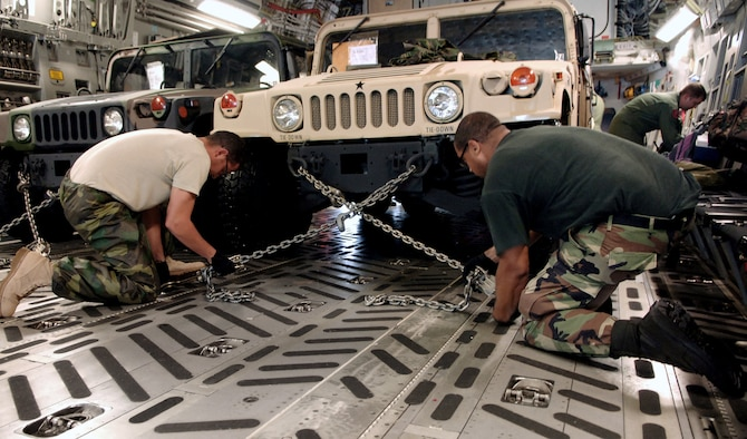 Members of MacDill Air Force Base, Fla. ground crew secure Humvees on a C-17 Globemaster. The vehicles and medical supplies were sent to Beaumont, Texas, in support of evacuations prior to Hurricane Gustav's arrival. (U.S. Air Force photo/Staff Sgt. Joseph Swaff)