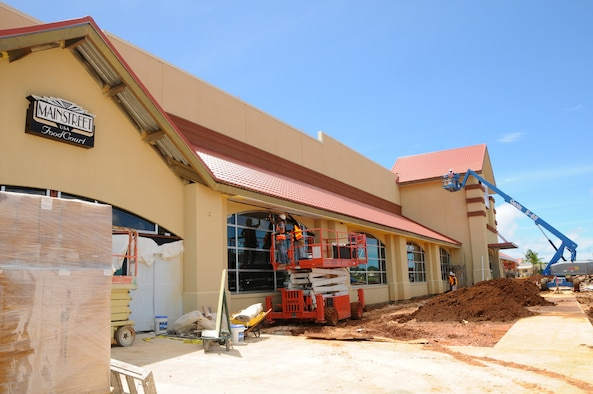 ANDERSEN AIR FORCE BASE, Guam - The 181,000 square feet shopping complex undergoes some last minute construction before the grand opening Sept. 10 at 9 a.m. here. Inside, the BX offers six eateries: Charley's Sub, Popeyes, Taco Bell, Subway, Pizza Hut and Baskin Robins. The facility seats around 200 hundred people. (U.S. Air Force photo by Airman First Class Courtney Witt)