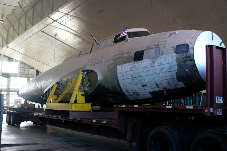 "DAYTON, Ohio -- The fuselage of the B-17D ""The Swoose"" sits on a trailer shortly after its arrival to the restoration facility at the National Museum of the U.S. Air Force. (U.S. Air Force photo)"