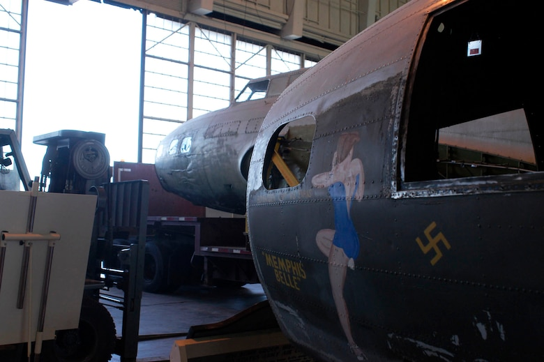 "DAYTON, Ohio -- The B-17D ""The Swoose"" rests next to the B-17F ""Memphis Belle"" in the restoration area of the National Museum of the U.S. Air Force. (U.S. Air Force photo)"