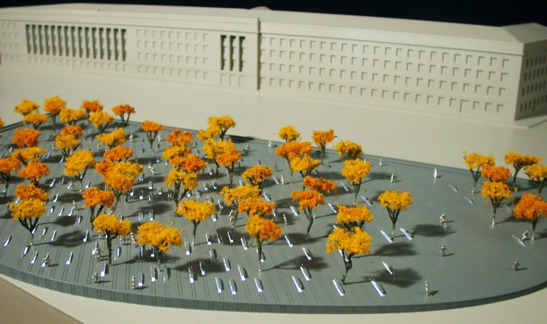 An artist's rendition of the Pentagon Memorial.