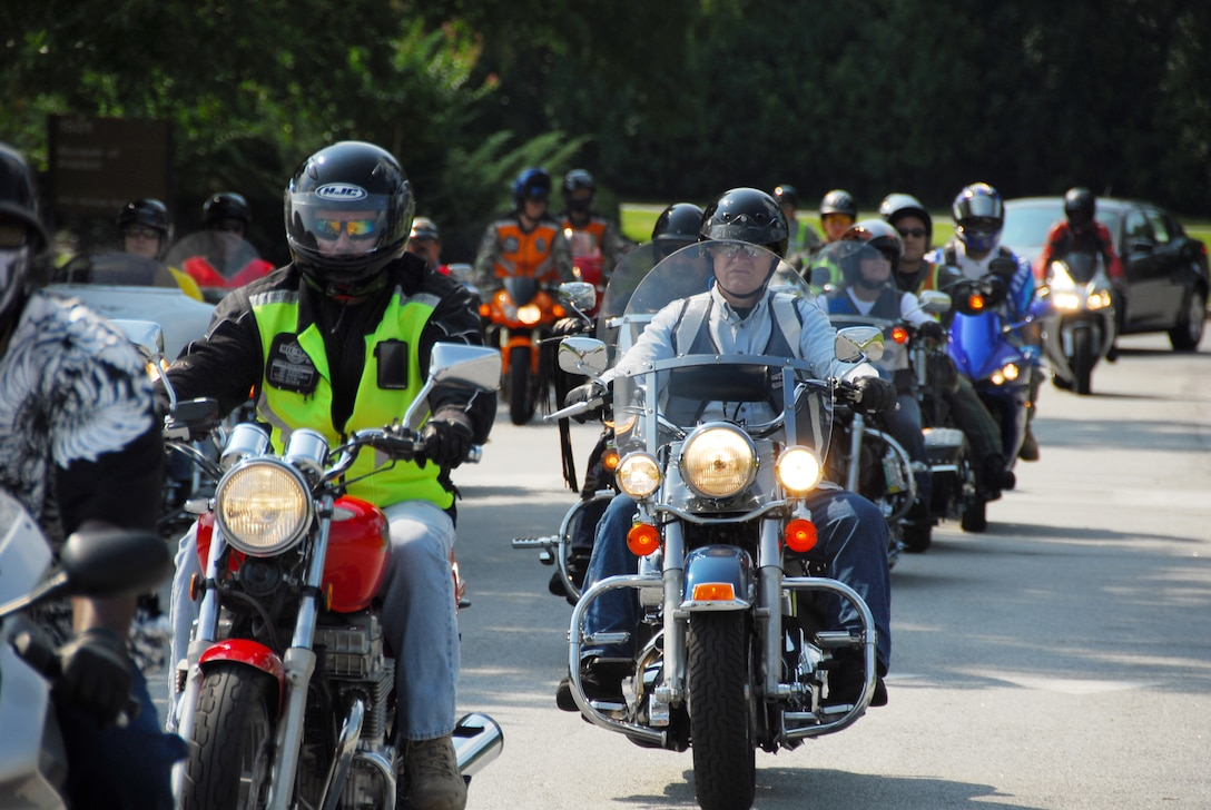 """More than 300 motorcyclists took to base and community roads in a massive ride Aug. 28 as part of the """"See Me, Save Me"""" motorcycle awareness campaign, a community and base-wide effort to create mutual respect among automobile drivers and motorcyclists on the road. The ride ended with a lunchtime cookout at the Museum of Aviation. U. S. Air Force photo by Edward Aspera Jr."""