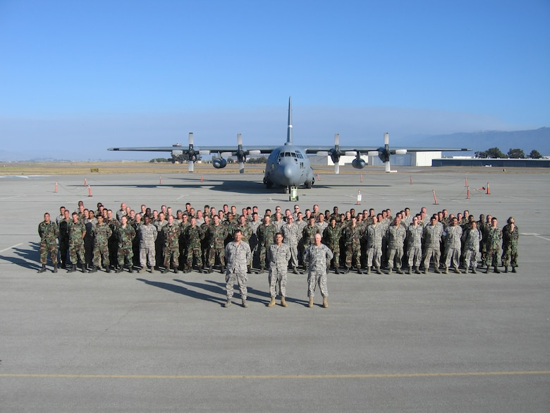 Hydra '08 participants on the flightline at Salinas Municipal Airport. 