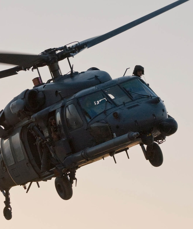 Crewmembers from the 55th Expeditionary Rescue Squadron prepare to land their HH-60G Pave Hawk at a deployed location. (U.S. Air Force photo by Capt. Jay Humphrey)