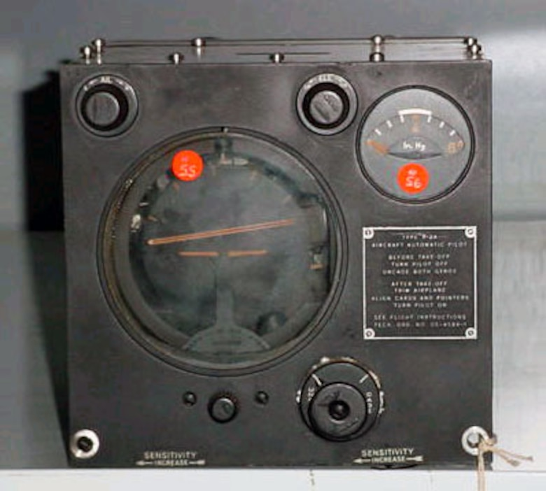 This was an automatic pilot from Argonaut IV used by Gen. Hap Arnold for his flight to the Potsdam Conference in 1945. Argonaut IV was a four-engine Douglas C-54 transport aircraft. (U.S. Air Force photo)