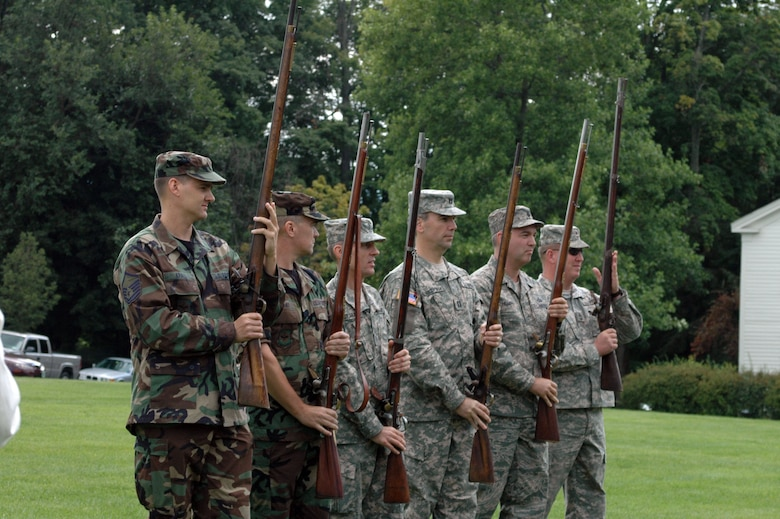 New Hampshire National Guard soldiers and airmen are taken through movements of colonial soldiers and shown how to load and fire muskets at the Bennington Monument in Vermont on August 16th 2008.  (U.S. Air Force photo/Master Sgt. Timothy Psaledakis)