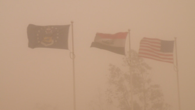 A sandstorm makes visibility extremely difficult soon after the arrival of Staff Sgt. Scott Gaitley at Joint Base Balad, Iraq. Sergeant Gaitley, 931st Air Refueling Group historian, departed near the end of August for a four-month tour with the 332nd Air Expeditionary Wing at Balad. (Courtesy photo)