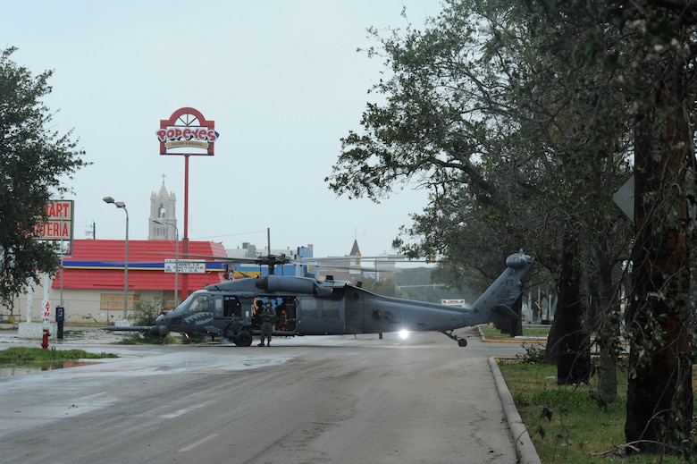 An HH-60 Pave Hawk assigned to the 331st Air Expeditionary Group at Randolph Air Force Base, Texas, sits in the street during operations in Galveston, Texas, after Hurricane Ike, Sept. 13. (U.S. Air Force photo/Staff Sgt. James L. Harper Jr.)