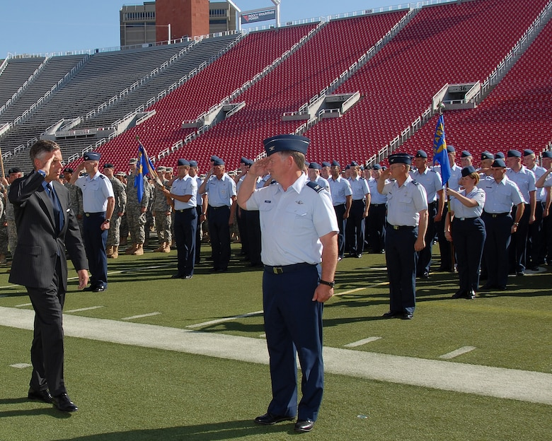Governor Huntsman passes inspection on the troops during the Governor's Day Parade at Rice Eccles Stadium, Salt Lake City, Utah. September 13, 2008(Released) U.S. Air Force photo by: Staff Sgt. Emily Monson