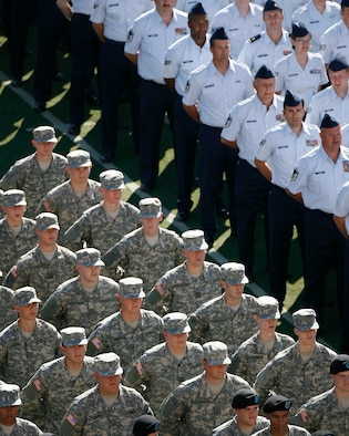 Members of the Utah National Guard stand during the Governor's Day Parade at Rice Eccles Stadium, Salt Lake City, Utah. September 13, 2008(Released) U.S. Air Force photo by: Tech. Sgt. Michael D Evans