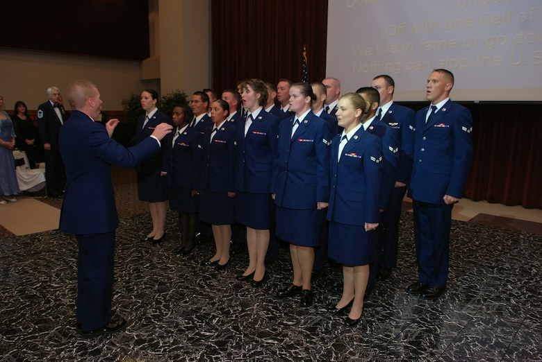 Members of the 17th Training Group White Rope Choir lead ball attendees in the Air Force Song at the 2008 Air Force Ball Sept. 12 at the C.J. Davidson Conference Center at Angelo State University. (U.S. Air Force photo by Senior Airman Kasabyan Musal)