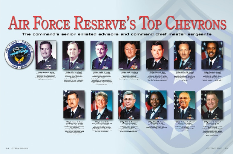Air Force Reserve Command's senior enlisted advisors and command chief master sergeants
