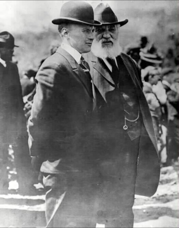 Lt. Thomas Selfridge (left), shown here with Alexander Graham Bell, was the first military casualty of flight.  September 17, 2008, marks the 100th anniversary of his fateful last flight.