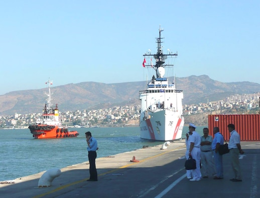 The U.S. Coast Guard cutter Dallas visits the port of Izmir, Turkey. The Dallas was returning from a Black Sea tour where it delivered humanitarian assistance to Georgia. Air Force Office of Special Investigations, Detachment 523 coordinated with the Turkish National Police to arrange appropriate Force Protection measures including a local threat briefing to the ship's captain and his senior staff. AFOSI Det. 523 supports numerous U.S. ships attached to the U.S. Navy 6th Fleet during visits to Turkish ports. (U.S. Air Force photo)