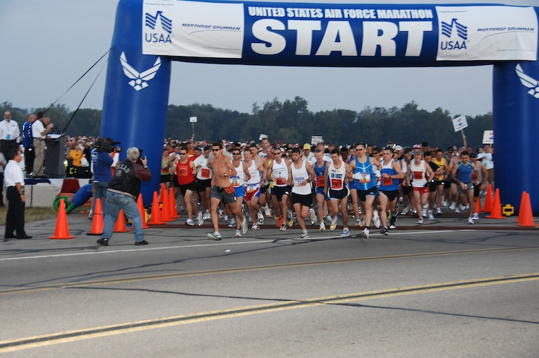 A record field of runners take off to start the 12th Annual U.S. Air Force Marathon at Wright-Patterson AFB, Ohio. Nearly 7,400 people registered to take part in the marathon events this year. (U.S. Air Force photo/Ben Strasser)