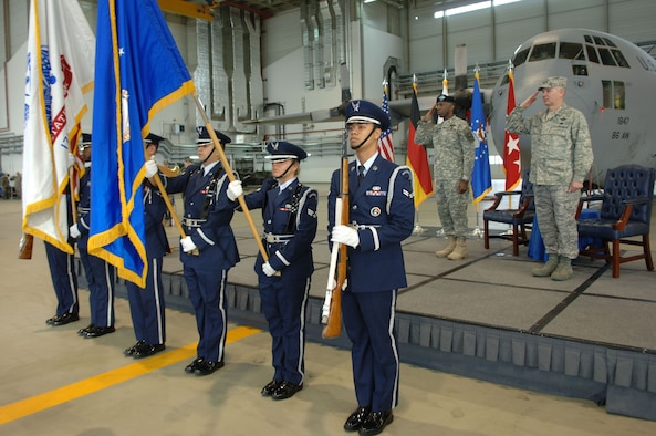 "U.S. African Command Commander Army Gen. William E. ""Kip"" Ward (left) and Air Force Maj. Gen. Ronald R. Ladnier, commander of Seventeenth Air Force, salute the colors as the national anthem is sung during an assumption of command ceremony Sept. 18 at Ramstein Air base, Germany. General Ladnier took the guidon for Seventeenth Air Force, which officially activates Oct. 1 and will serve as the air component for U.S. (U.S. Air Force photo by Airman 1st Class Tony R. Ritter)(Released)"