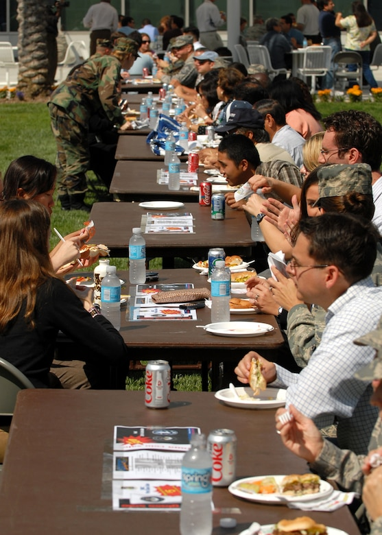 Los Angeles Air Force Base members enjoy a free lunch in the Schriever Space Complex courtyard to celebrate the Air Forces birthday, Sep. 18. (Photos by Stephen Schester)