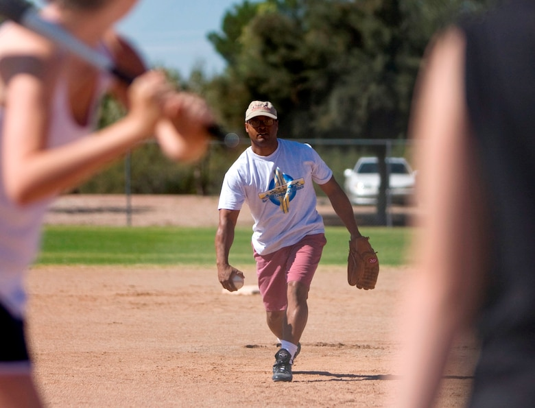 Master Sgt. Brian Jones pitches the ball to a batter during the 162nd Fighter Wing's Junior Enlisted Council's Softball Tournament Sept. 20. (Air National Guard photo by Tech Sgt. Hollie Hansen)