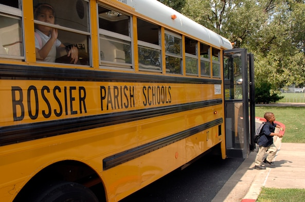 BARKSDALE AIR FORCE BASE, La. - Children arrive at the Barksdale Youth Center from local schools to attend the after-school program.  The youth center is now on the Combined Federal Campaign recipient list.  (U.S. Air Force photo by Staff Sgt. Sarah E. Kusek)