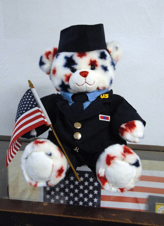 """Chief Master Sgt. Yates"" was created by students at Build-A-Bear."
