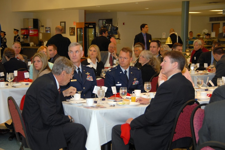 From left, Roger Hannay, SMAC chairman; Maj. Gen. Robert Knauff, NYANG commander; Col. Anthony German, 109th AW commander; and Rep. Michael McNulty attended a breakfast here honoring McNulty.