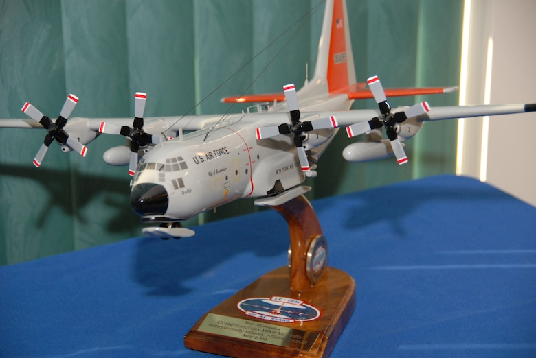 The Schenectady Military Affairs Council presented Rep. Michael McNulty with this model LC-130 aircraft. McNulty, who represents the 21st Congressional District, was honored during a breakfast here May 29. (U.S. Air Force photo by Master Sgt. Willie Gizara)